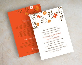 Wedding invitations, butterfly wedding invites, vine wedding stationery, vine invites, tangerine, pumpkin orange, chocolate brown, Sharon