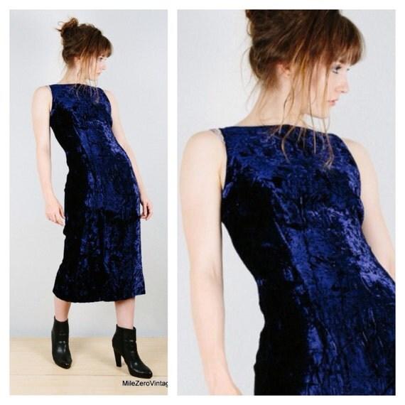 80s Blue Velvet Dress Minimalist Crushed Velvet Wiggle Dress