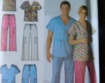 Simplicity 4378 Easy to Sew Misses, Mens and Teens Scrub Tops and Pants in sizes M,L,XL