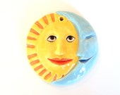 Sun and Moon Ornament, Hand-built Hanging Sun and Moon Sculpture