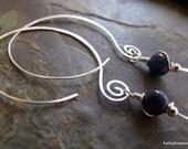 Open Hoop Earrings in Silver with  Blue Soda lite Stones