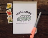 SASS-607 Congratulations one step closer to minivan baby letterpress card