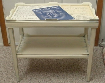 Vintage Chalk Painted Sheet Music Side Table