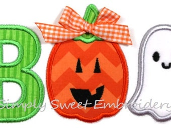 Boo Pumpkin Ghost Machine Embroidery Applique Design