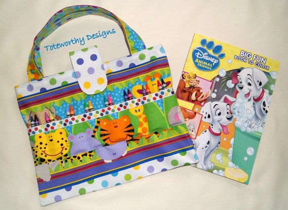 Coloring Book and Crayon Tote Zoo Animals Crayon Holder