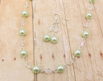 Necklace and Earring Set - Light Mint Green Glass Pearls with Aurora Borealis Glass Beads
