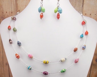 Necklace and Earring Set - Rwandan Paper Beads - Colorful Two Strand - Delicate