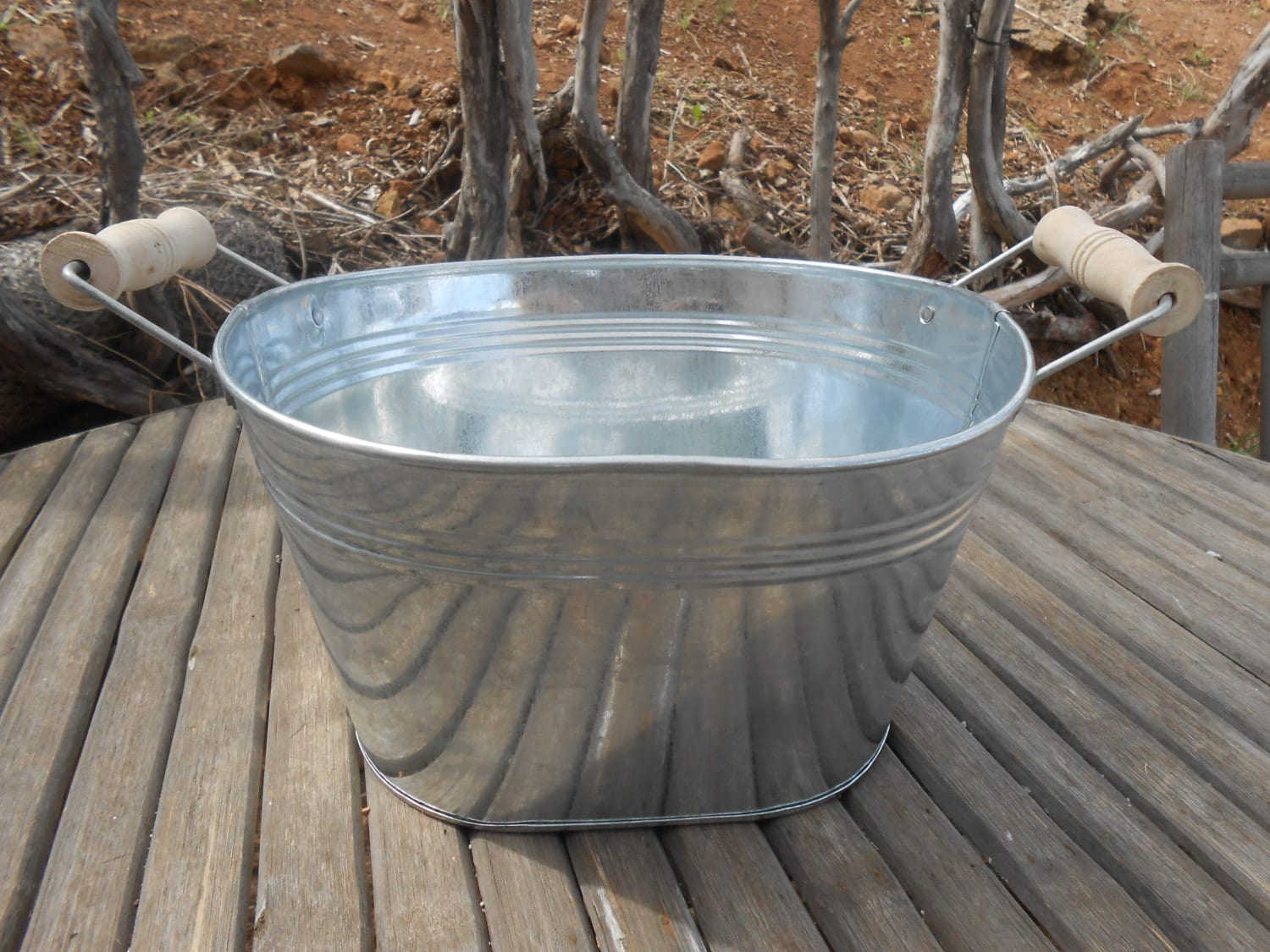 Large Rustic Oval Galvanized Tub Bucket 10 X 8 By