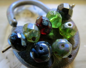 NEW Earthy Blend . Czech Picasso Glass Beads (10) 6 by 8 mm
