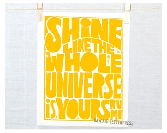 Rumi Wall Art, Kitchen Art,  Shine like the whole universe is yours, Rainbow, Wall Art, Kitchen Art Print