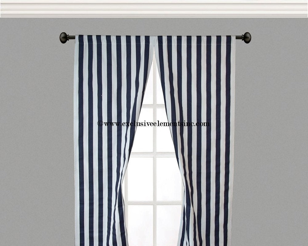 Curtain Panels Navy White Stripe Curtains By Exclusiveelements