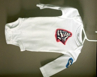 9 month Onesie with hand applique of USCG Eagle (Pink & Navy)