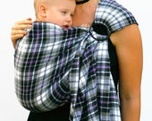 Baby Carrier Ring Sling Plaid Gray and Purple Mad About Plaid Pleated - MADE TO ORDER Any Length