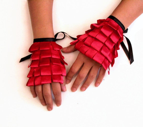 Red Ruffled Cuffs, Occasional Wrist Charm Gloves, Dance Handlets Hand Accessories, OOAK Gift Bracelet