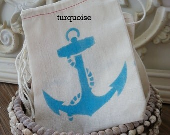 Beach Nautical BLUE ANCHOR  4x6 Muslin Drawstring Favor Candy Bags 10 / Kids Birthday / Wedding Baby Shower / Cutlery Silverware Holder