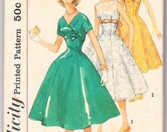 Vintage 1956 Simplicity 1842 Sewing Pattern Teen Age One-Piece Dress Size 12 Bust 32
