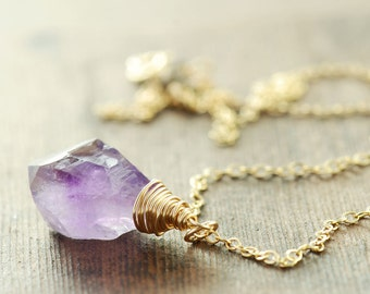 Ombre Amethyst Gemstone Gold Pendant Necklace, February Birthstone Jewelry, Rustic Purple Amethyst Necklace