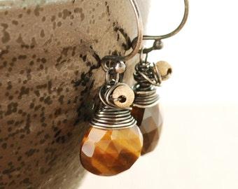 Rustic Modern Earrings, Tigers Eye Earrings, Sterling Silver Earthy Jewelry