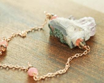 Amethyst Crystal Slice Moonstone Necklace in Rose Gold, Amethyst Moonstone Jewelry, Purple Gemstone Necklace, February Birthstone Jewelry