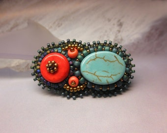 RED and TURQUOISE -- Coral Glass Gold Beaded Alligator Hair Clip