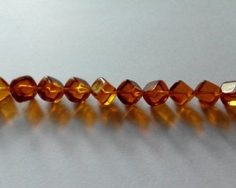 Vintage Czech Glass Beads- Golden Topaz- Transparent- Set of 10