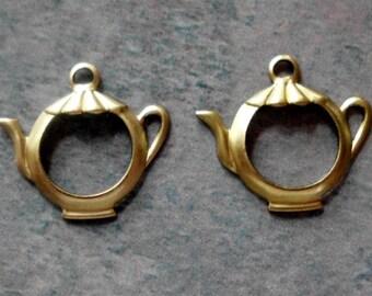 Vintage Teapot Charm- Solid Brass- Alice in Wonderland- Set of 2
