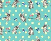 Dear Little World Cotton Fabric Quilt Gate LW1904-14B Bunnies on an aqua blue background with polka dots
