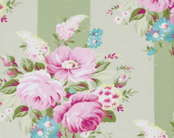 Green Picnic Bouquet pwtw073green Cotton Fabric by Tanya Whelan FreeSpirit Sunshine Rose