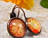 Tangerine and Gold Flowers Chiyogami Earrings