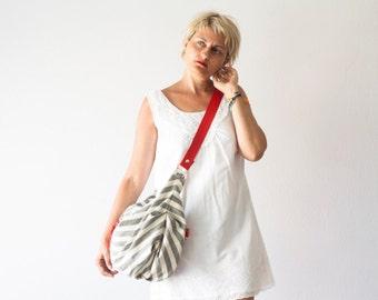 Stripe crossbody bag canvas, hobo messenger purse crossover bag womens slouchy shoulder bag- Crossbody Kallia bag