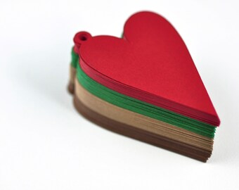 "100 Christmas Heart Tags Tags - Holiday Gift Tags - 100 Tags - 1.5"" x 2.25"" - Woodland Colorway"