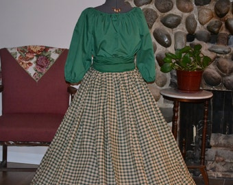 Scottish Highlander, Celtic, Civil War, Colonial, Pioneer, Mountain Man, Skirt, Blouse, Sash and Mop Hat