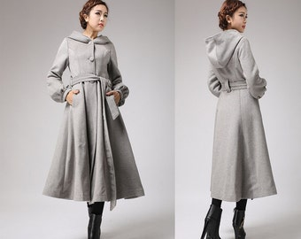 Long Hooded Wool Coats