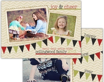 Instant Download - Photoshop PSD layered Templates for Photographers - Holiday card - Collingwood family design