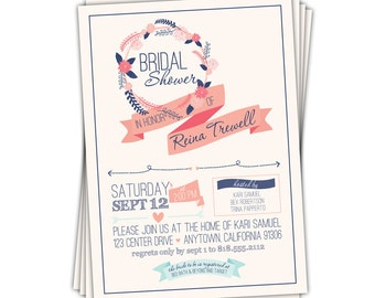 Vintage Style Bridal Shower Invitation • Rustic Navy Blue and Coral Wedding Shower Invitation  //you can change the colors// Reina design