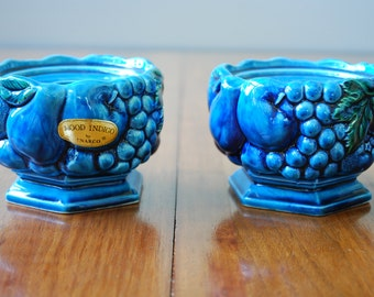 Vintage Candle Holders - tapers - Inarco -  Mood Indigo - Retro - Mod - 1960's - Moody Blue )