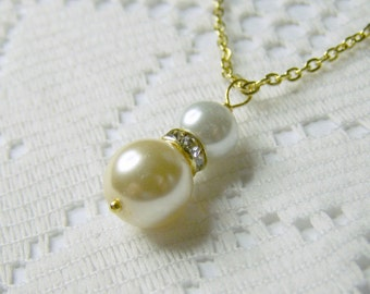 Wedding Pearl Pendant -  Double Pearls - Victorian Ivory and White Pearls Swarovski elements - Gold Pendant - Princess Pendant