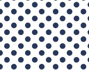 SALE - Riley Blake Medium Dots in Navy (navy dots on white) - Fat Quarter