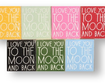 "I Love You to the Moon & Back ""Fun Size"" Rustic Sign - 8x9"