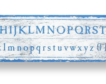Schoolhouse Alphabet rustic wooden sign 7 x 34