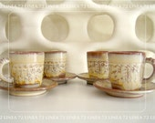Frankoma Aztec Pattern Coffee Cups and Saucers in Desert Gold Mid Century Era