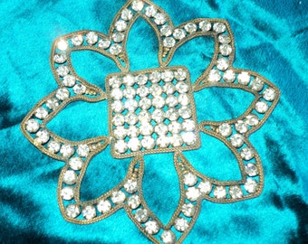 1920s Art Deco Paste Rhinestone Applique Ideal for Cuffs, Flapper headbands, dress trim