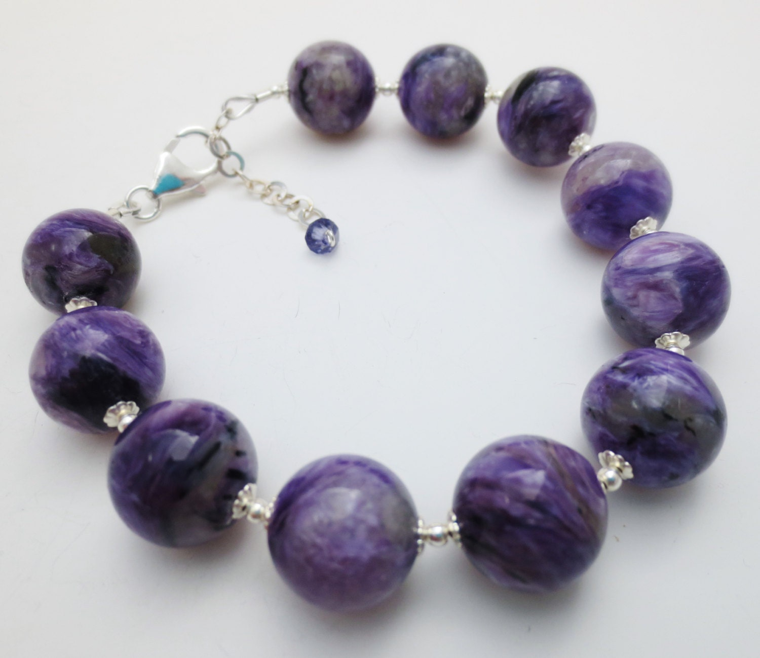 charoite purple gemstone sterling bracelet ee designs