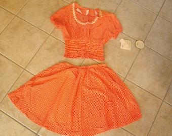 1960s Midriff Top Full Skirt Petite Orange White Polka Dots