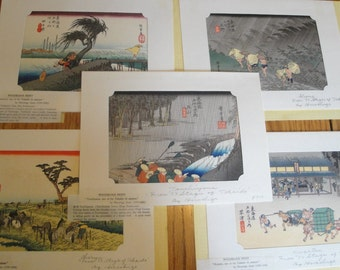 Vintage Woodblock Print 53 Stages of Tokaido by Hiroshige Set of 5