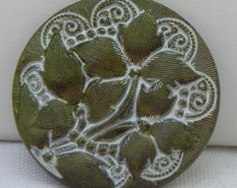Three Flowers Czech Glass Button