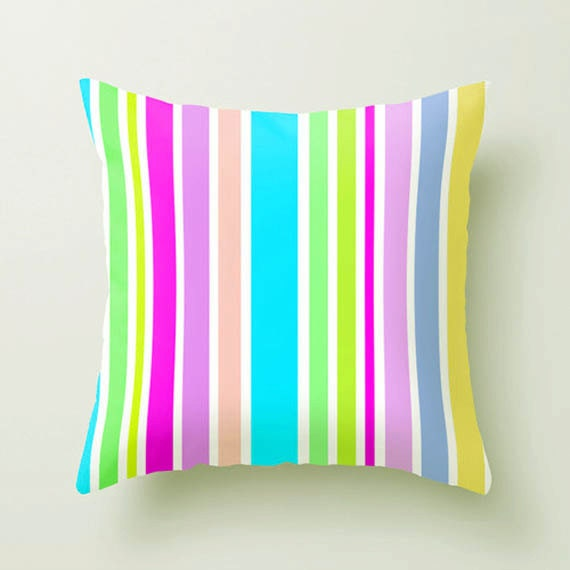 Throw Pillow, Modern Decor Pillow Cover, Sofa Pillows, Striped Pillow Covers, Bold Aqua Bright Yellow Chartreuse, Dorm Decor, Rainbow Pillow