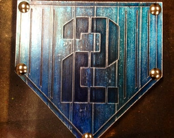Buy one similar Home Plate Baseball # 2 Custom Foil Metal Tape Art Faux Steel Ready To Hang Mancave
