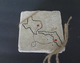 Handpainted State to State Stoneware Coaster - Set of 4, Personalized Coaster Set, State Coaster State