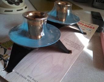 Vtg Beagle Manufacturing Garden Club Decorator Blue Black Metal Candle Holders NOS